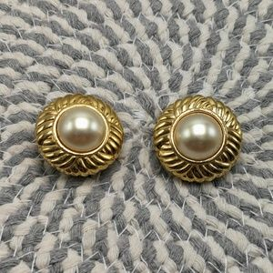 🍁 CLIP-ON Vintage Pearl gold disc woven Africa